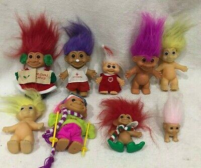 Russ Vintage Troll Dolls Nice Mixed Lot Of 9 Halloween Lifeguard Ski