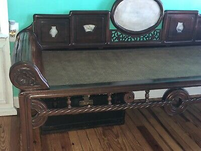 Antique Victorian Chinese Opium Daybed Rosewood Marble Bamboo Asian Hand Carved!
