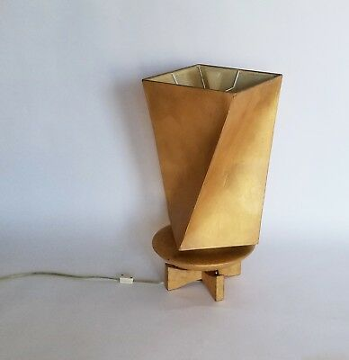 Vintage Mid Century Mod Hallmark Gold Leaf Table Lamp Light w/ Etched Shade