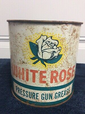 White Rose 5lb Grease Can Rare Collectible Vintage Oil Can
