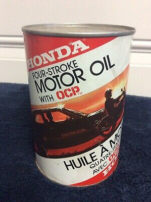 Honda 4 Stroke Motor Oil Can 1lt Full Rare Collectible Vintage Oil Can