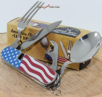 American Flag Utensil Fork Spoon Can Opener Camping Hunting Multi-Tool Knife