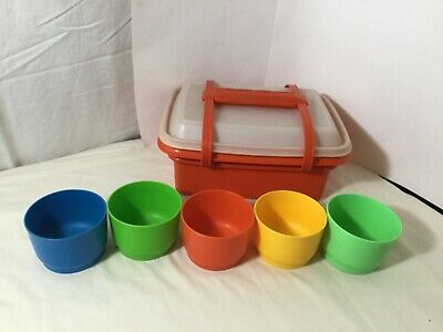 Vintage Tupperware Lunchbox W/ Handle Red Orange Small Container green,blue,yell