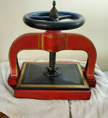Antique Cast Iron Book Press Original Paint Working Victorian 1800'S Unmarked