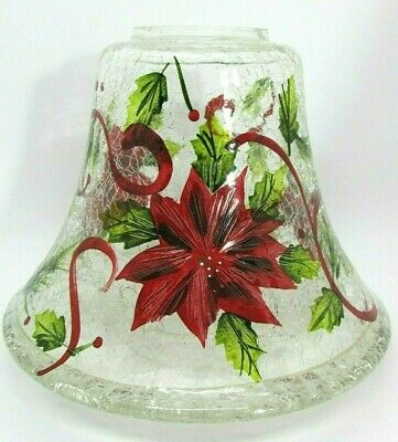 YANKEE CANDLE Crackle Glass, HOLIDAY CHRISTMAS Shade Topper, Poinsettia & Ribbon