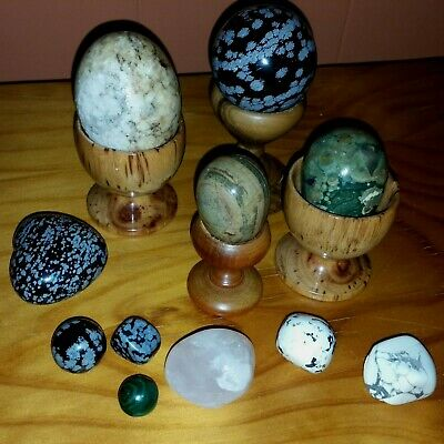3 eggs, 2 spheres, 1 heart, 1 stand + more Snowflake Obsidian, rose quartz etc