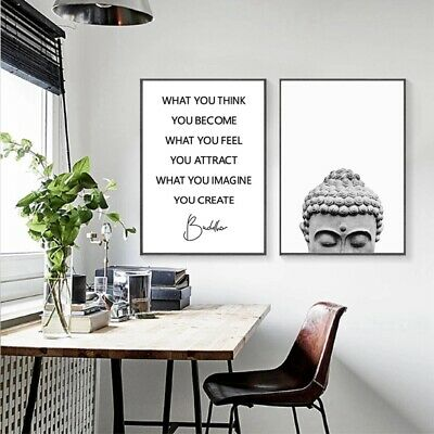 Buddha Statue Boho Wall Art Print Yoga Gift Poster Canvas Painting Home Decor