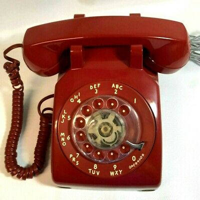 AT&T Vintage Red Rotary Dial Telephone Desk/Table Top Model: TELRC Doesn't Ring
