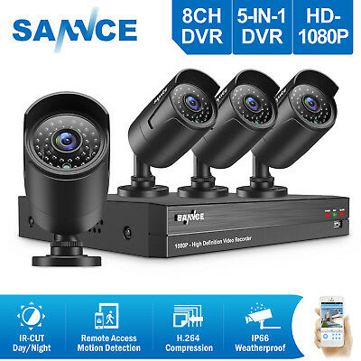 SANNCE 5in1 Full 1080P 8CH DVR 2MP Outdoor Security Camera System Night Vision