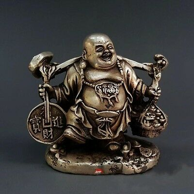 Old China Buddhism Fengshui Pure Silver Wealth Yuanbao Money Maitreya Statue