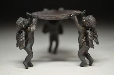 Superb Lovely Chinese Old Hand Carving Pure Copper Angel Candlestick Rn