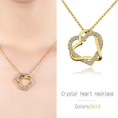 New 18K Gold Filled Women's Love Heart Pendant Necklace With Crystal