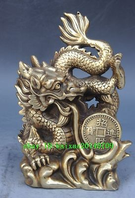 Chinese old Lucky brass Auspicious zodiac year dragon Beast statue sculpture f02