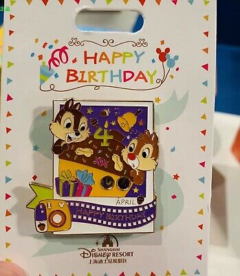 Disney Parks Shanghai 2019 Happy Birthday April Chip & Dale Collection Pin