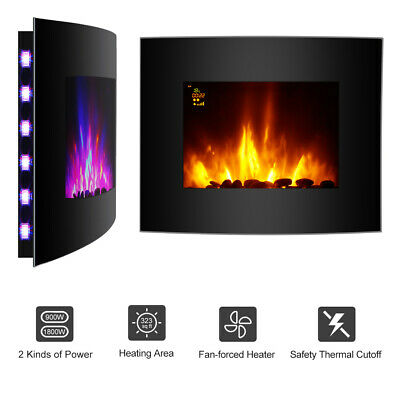 Wall Mounted Electric Fireplace Heater LED Curved Glass 3D Flame 1800W+Remote UK