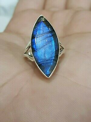 Faceted Labradorite Marquise 925 Sterling Silver Ring Size 7 Free Shipping