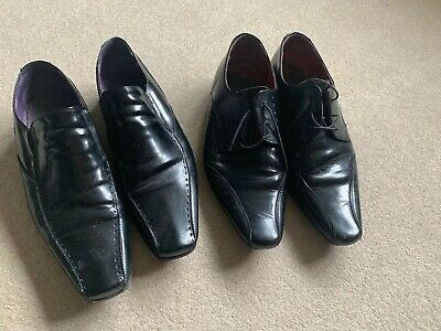 Two Pairs Of Mens Black Leather Shoes