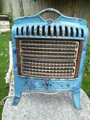 1920'S Art Deco Blue Marble  Enamelled Electric Fire- Belling