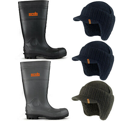 Scruffs Hayeswater Waterproof Safety Wellington Boots With Peaked Beanie