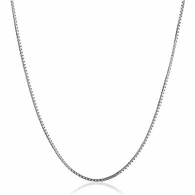 """Eternity Gold Box Chain Necklace in 10K White Gold, 22"""""""