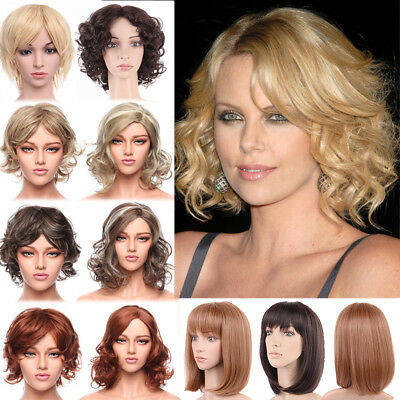 Ombre Short Bob Curly Wavy Full Wig Highlight Blonde Brown Wigs Ladies Costume Z