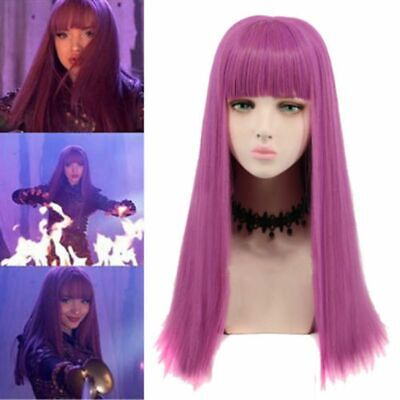 Descendants 2 Mal Cosplay Wig Long Purple Straight Famale Costume Party GIRL Wig