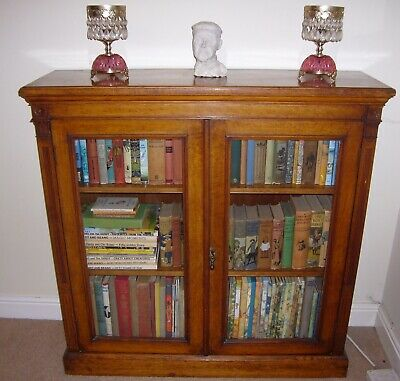 Victorian golden oak glazed bookcase