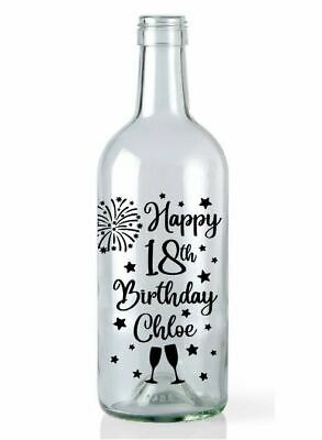 Wine Bottle Happy Birthday Vinyl Decal Sticker Light Home Garden 16 18 21 30 40