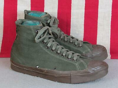 Vintage 1960s US Army Canvas High Top Sneakers Military Gym Shoes Sz 9.5 Vietnam