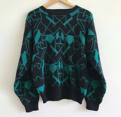 vintage green black cosby sweater coogi style 80s 90s knit jumper