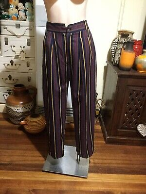 Vintage ADELE PALMER high Waist Relaxed Leg Pants Striped 100% Wool Size 14