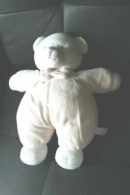 Doudou ours blanc et rose GIPSY 34cm