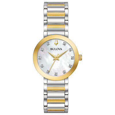 Bulova Women's Quartz Crystal Accent Two-Tone Bracelet 30mm Watch 98P180