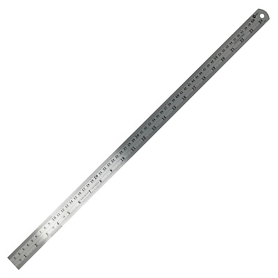 "24"" 60cm 600mm Stainless Steel Ruler Metal Rule Metric Imperial"