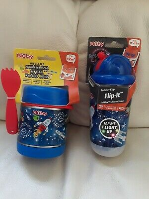 Nuby Insulated Food Jar + Toddler Flip It boogie Light up Cup