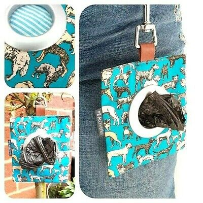 Liberty Print Dog Walking Poop Bag Dispenser 'Best In Show' Turquoise Blue Pouch