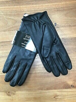 Florence And Fred Black Leather Gloves- Size small/medium