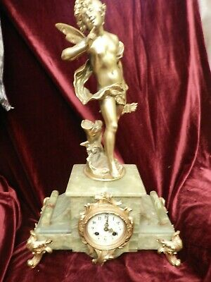 Antique French Onyx & Gilded Metal Fairy / Cupid Figure Clock