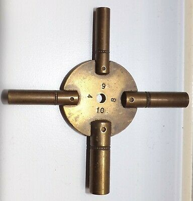 VINTAGE FOUR ENDED BRASS CLOCK KEY Numbers 4-6-8-10.