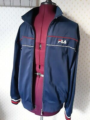 Vintage / Retro - FILA - Zip up Jacket - Size M - Navy with red stripe