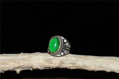 """1.18""""Exquisite Chinese White copper Handmade inlay Emerald Ring"""