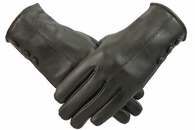 Ladies Brown Leather Gloves Women Soft Fleece Lined Winter Casual Driving Warm