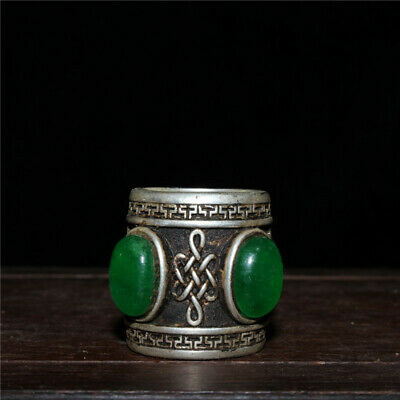 """1.57""""Exquisite Chinese White  copper Handmade inlay Emerald Ring Fingerstall"""