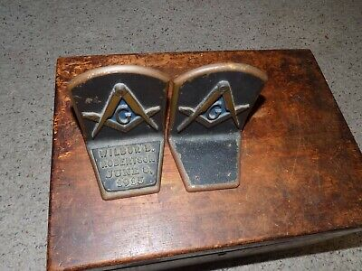 1915 Masonic Freemason G Bronze Bookends