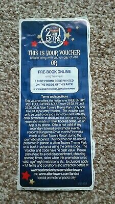 Alton Towers 2 for 1 Entry Voucher