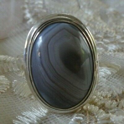 Gray Banded Agate 925 Sterling Silver Ring Size 8.75 Oval Shaped Stone