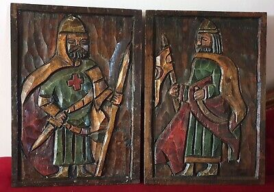 Antique Vintage Pair Of Medieval Style Hand Carved Wooden Door Panel Plaques