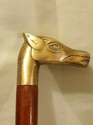 Walking stick Horse head  solid brass engraved  handle  and  ferrule 92 cm