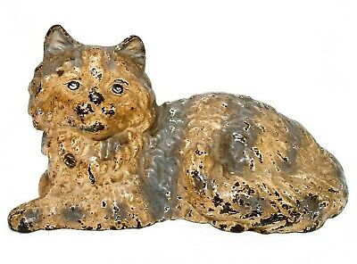 Hubley Late 19Th-Early 20Th C Antique Large Cast Iron Hand Painted Cat Doorstop