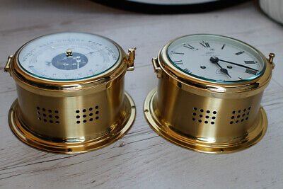 West German Schatz Royal Mariner Brass Ships Clock and Barometer
